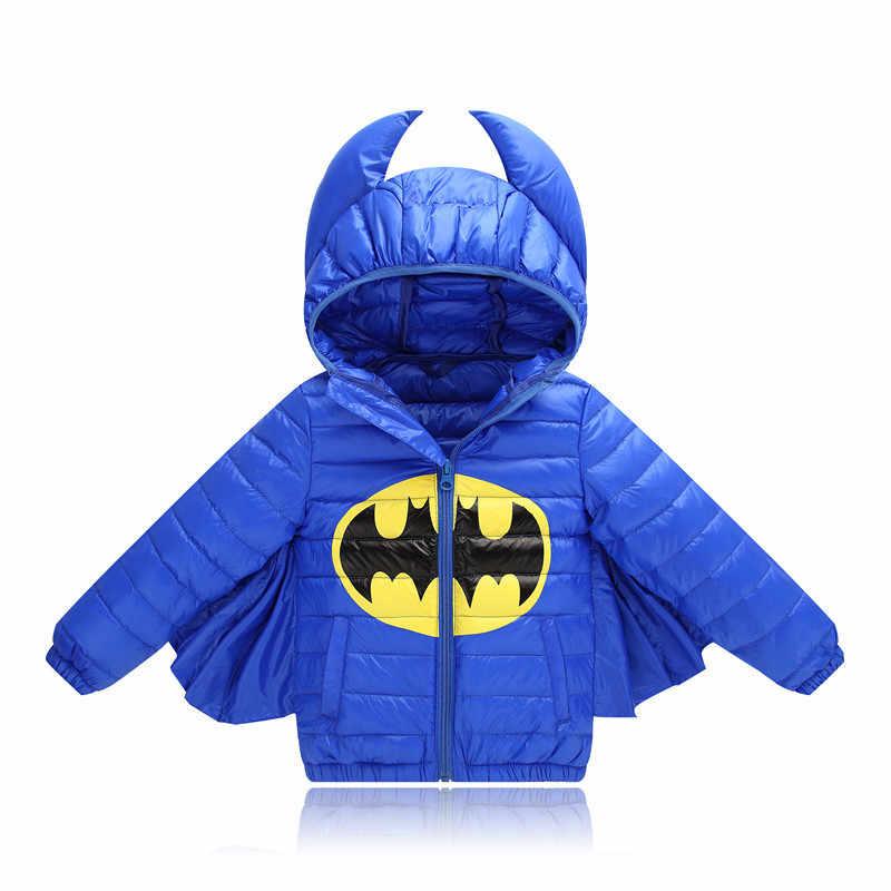 Зимний карнавальный костюм на Хэллоуин, Детский пуховик с Бэтменом для мальчиков, Новая корейская детская куртка-пуховик с рисунком Бэтмена для девочек