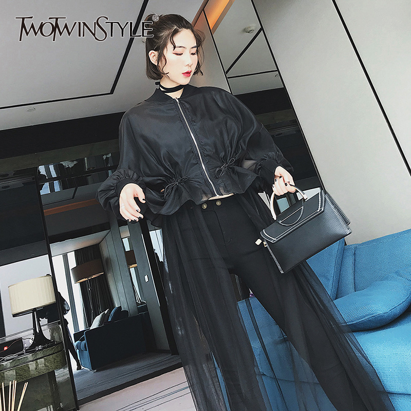 TWOTWINSTYLE Mesh patchwork windbreaker female Draw string high waist zipper ruffles long   trench   coat for women 2018 spring tide