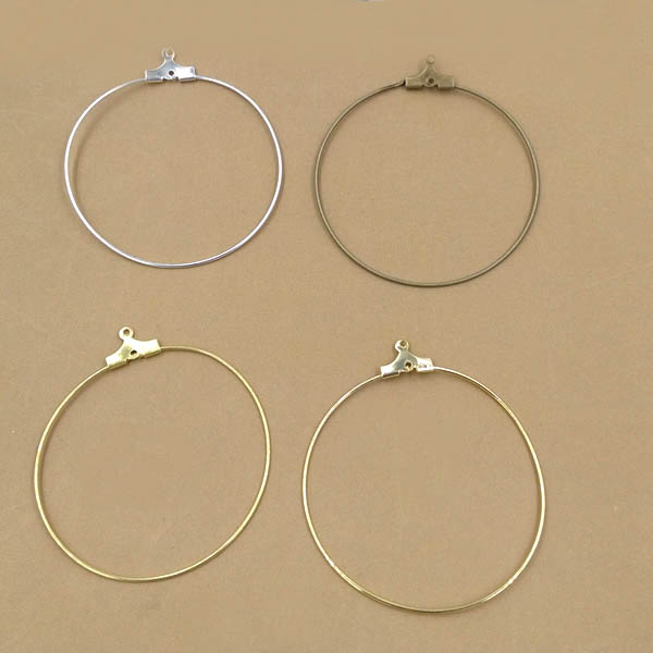 Aliexpress 40mm Blank Round Hoop Earring Findings Ear Clip Wires With Loop Earrings Settings Multi Color Plated From Reliable