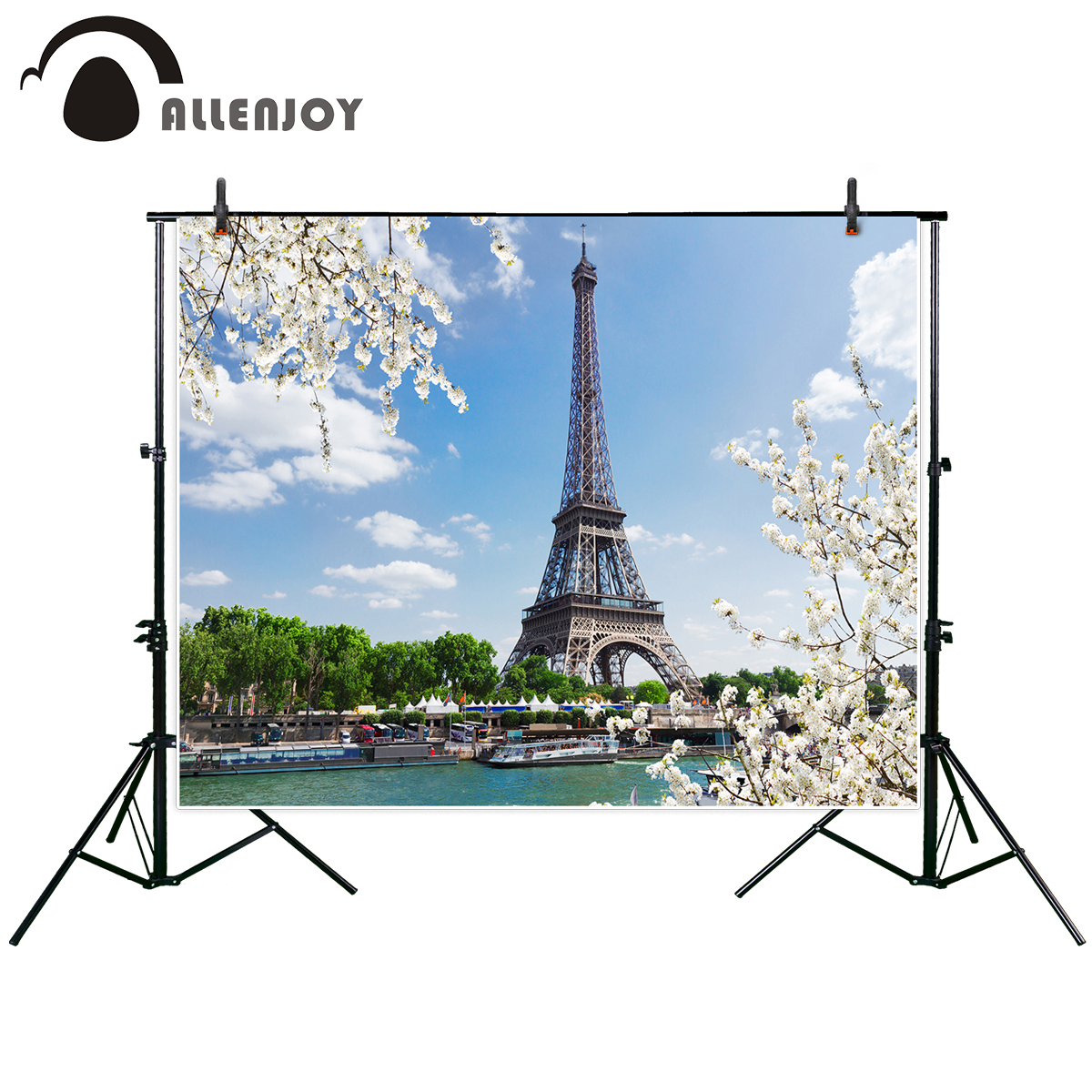 Allenjoy photographic background Eiffel Tour over Seine river spring tree Paris France fantasy backdrop photography photocall ...