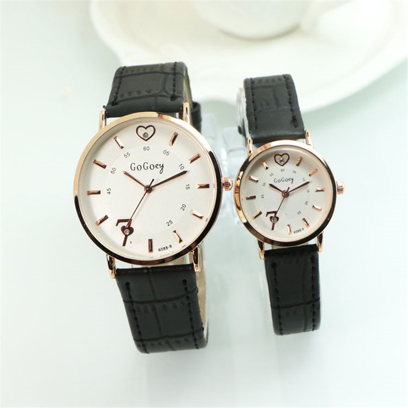 2 Pcs Luxury Gogoey Brand Heart Pair Leather Watches Men Women Lover Couple Fashion Casual Dress Quartz Wristwatches 6088-9 keep in touch couple watches for lovers luminous luxury quartz men and women lover watch fashion calendar dress wristwatches