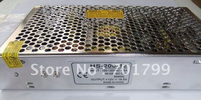 200W Dual Output Switching Power Supply;88 ~ 264VAC input;12V/200W output, size:199*110*50mm