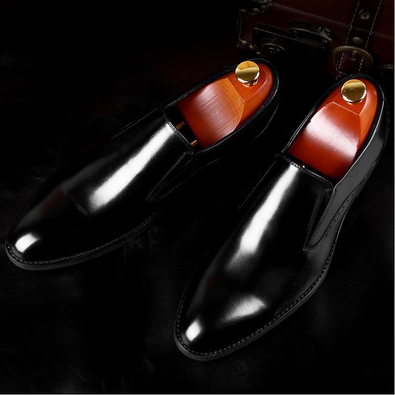 Masculino Negócios Mycoron Um Confortáveis Preto Couro Preguiçosos Socia Quality Handmade Bicudos De Top marrom Genuíno Pedal Sapatos Vestido S6S7H