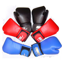 Pro Boxing Gloves Fight Punch Bag PU Leather Muay Thai Grappling Pad Kick Training Glove