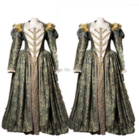 Tailored!Luxs Gold 18th Century Duchess Queen Marie Antoinette Court Victorian Gown Ball Reenactment dresses HL 210
