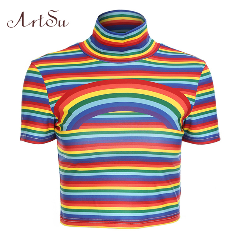 ArtSu Colorful Rainbow Printed Tshirt Short Sleeve Turtleneck Striped Funny T shirts Sexy Crop Top Summer Fitness Tees ASTS20358