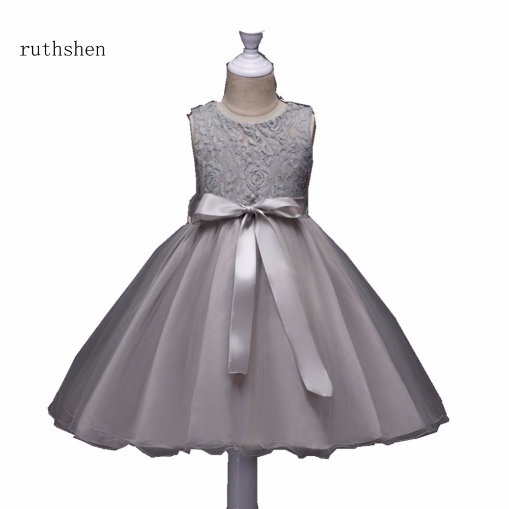 Ruthshen Baby Blue Pink Flower Girl Dress For Wedding With Ball Gown