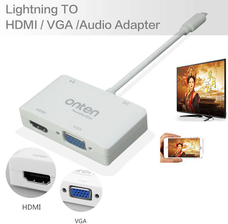 imágenes para 2in1 Adaptador Convertidor de $ number PINES a HDMI TV VGA a HDMI TV VGA proyector para iPad Aire Pro Mini para iPhone 5 5S 6 6 s 7 Plus