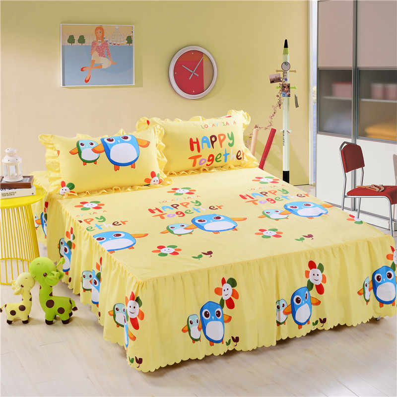 Hot Sale Korean Style of Bed Skirt  Fashion Skin-Friendly Bedspread  Single Double King Queen Size Bed Cover