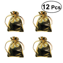 12 Pcs Heavy Duty Gold Drawstring Organza Jewelry Pouches Candy Chocolate Bags for Wedding Party Christmas Favor Gift(China)