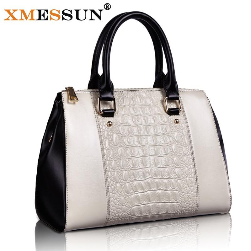 879f4fec27b8 100% Genuine Leather Bag Women Luxury Designer Handbag High Quality Tote  Fashion Crocodile Pattern Shoulder Messenger Bag L65-in Top-Handle Bags  from ...
