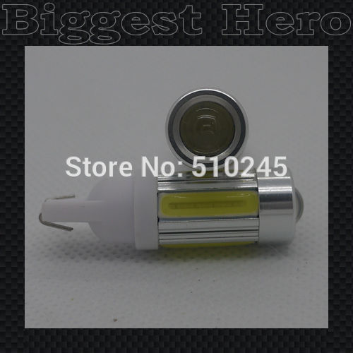 30X wholesale T10 5W Car 5 SMD LED COB 194 168 W5W Wedge License plate Roof white Light Bulb Lamp free shipping