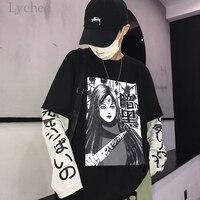 Lychee Harajuku Japanese Anime Print Women Sweatshirt Fake 2 Pieces O Neck Long Sleeve Casual Loose Female Sweatshirt Streetwear