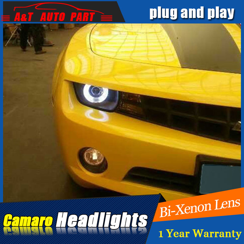 car Styling LED Head Lamp for Chevrolet Camaro led headlights for Camaro head light drl H7 hid Bi-Xenon Lens angel eye low beam auto part style led head lamp for porsche 997 series led headlights for 997 drl h7 hid bi xenon lens angel eye low beam