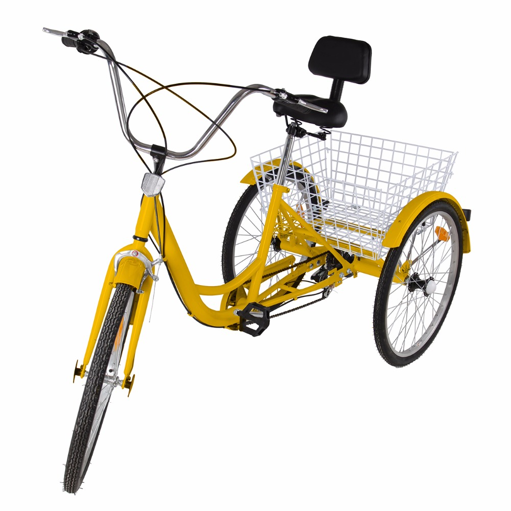 (Ship from US) Factory price 6 Speed 24 Inch 3 Wheel Adult Bicycle Tricycle Cruise Bike with Shopping Basket
