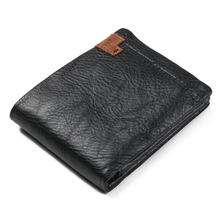 Short Men's Wallet Zip Coin Pockcet Purse Minimalist Male Holder Card Wallets Trifold Genuine Leather Black Soft Clutches Bag