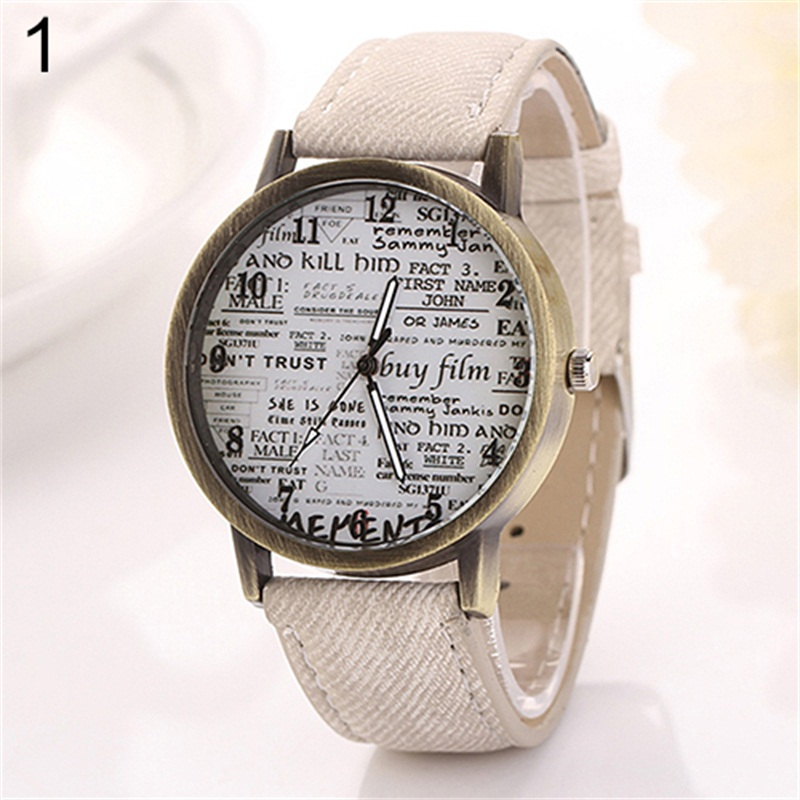 Design Men Women  Retro Cowboy Fabric Analog Quartz Casual Wrist Watch