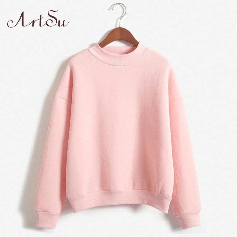 ArtSu Harajuku Women Hoodies Sweatshirts 2018 Autumn Winter Cotton Pink Casual Tops Long Sleeve Hoody Pullover Solid Tracksuit