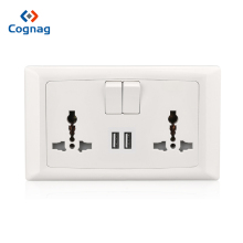 цена на Cognag AC 110-250V 13A USB Wall Socket Universal Wall Socket Panel With 2 USB Port Plug Charger Switch Power Outlet EU US UK AU