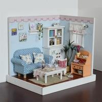 Diyのドールハウスドールハウス木製組立パズルおもちゃ家具おもちゃふりプレイ玩具家庭用誕生日ギフト用女の子子供