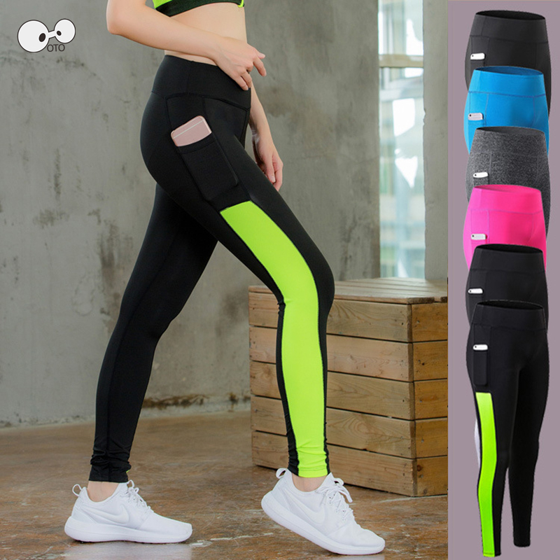 Womens Yoga Leggings Pocket Fitness Sports Compression Running Pants Trousers