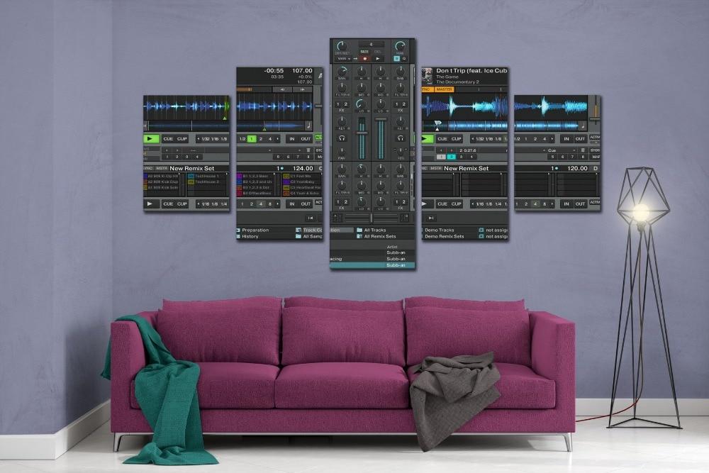 Dj Microphone Music Room Studio Poster 5 Panel Canvas Print Wall Art Home Decor