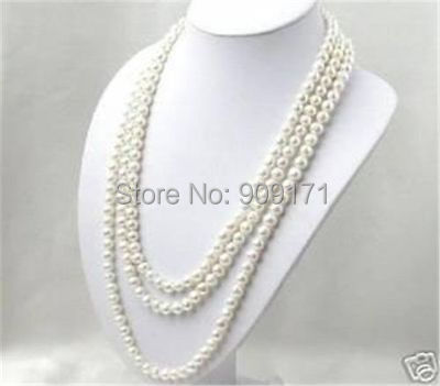 Free Shipping>>SUPER LONG 80 INCHES 7 8MM WHITE AKOYA CULTURED PEARL NECKLACE
