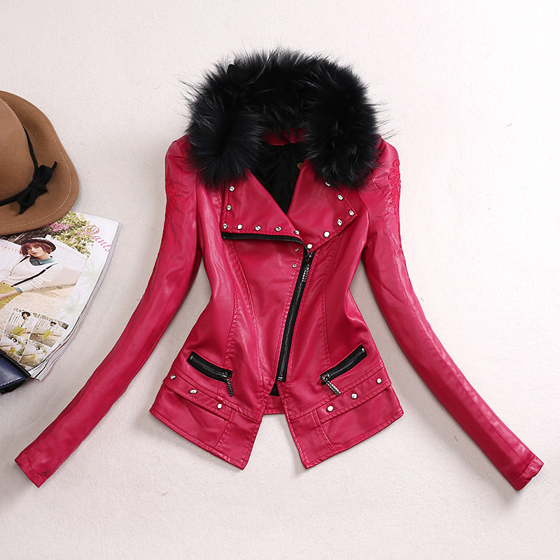 2019 New Fashion Autumn Winter Women Faux Soft   Leather   Jacket Pu Rose Red Zippers Pachwork Long Sleeve Motorcycle Coat Z617