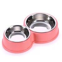 Мода собака кормушки миски стали конфеты цвет двойной рот собака чаша для малых и средних собак домашних животных (розовый, синий, зеленый)
