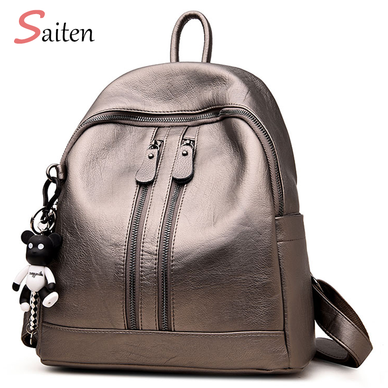 8bdb03c966 2018 New Fashion Woman Backpack Leather Brands Casual Female Backpacks High  Quality Backpack Elegant Mochilas Escolar Feminina-in Backpacks from  Luggage ...