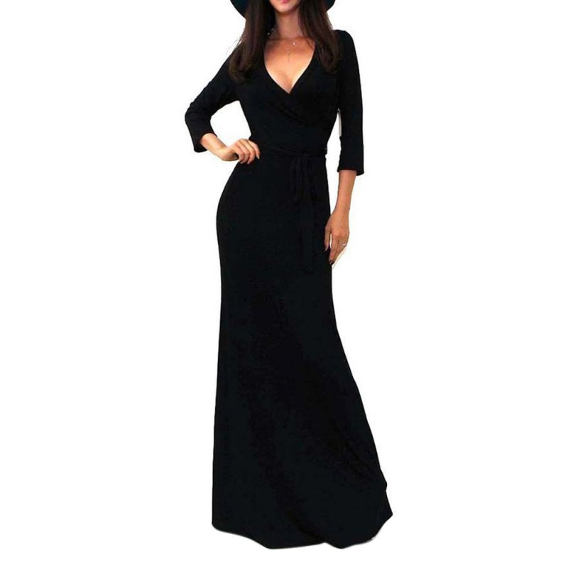 c82d10d383 Sexy Women Package Bodycon Vestidos Maxi Dress Fashion V neck Wrap Empire  Waist 3 4 Sleeve Solid Long Casual Dresses-in Dresses from Women s Clothing  on ...