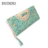 New Arrival Country Style PU Leather Wallets Hollow Lace Hit Color Printing Tassel Women Wallet Ladies