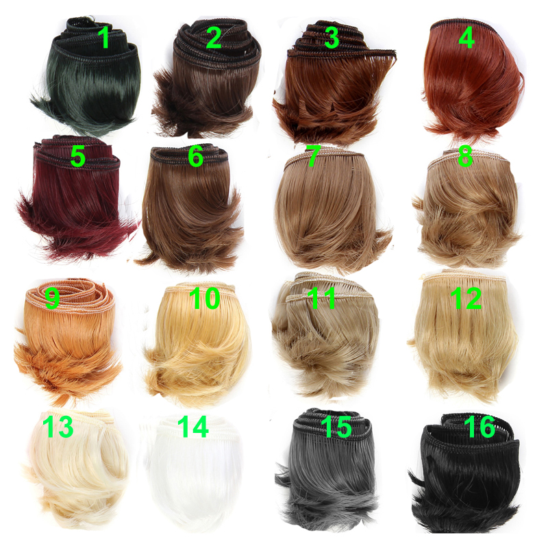 5cm black white brown color short straight doll hair for 1/3 1/4 BJD doll diy fringe hai ...