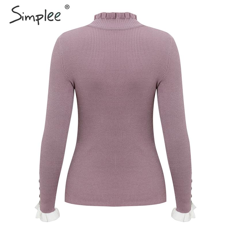 Simplee Ruffled knitted women sweater Striped flare sleeve button female pullover jumper Slim fit ladies turtleneck sweater