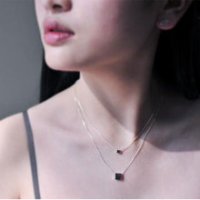 Jewelry Double Layer Square Box Simple Necklace