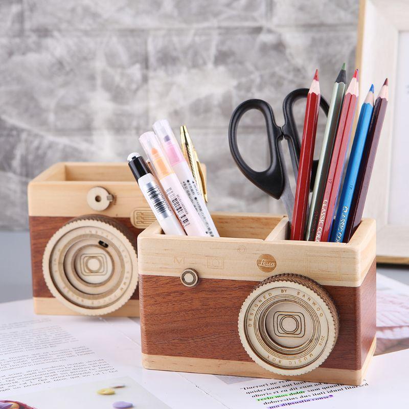 Creative Camera Pattern Wooden Pen Pencil Case Holder Stand Desktop Sundries Storage Box Multi Purpose Use #524