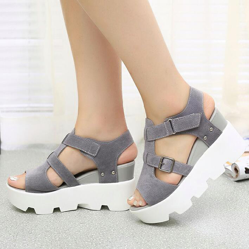 New 2017 Summer Sandals Shoes Women High Heel Casual Shoes footwear flip flops Open Toe Platform Gladiator Sandals Women Shoes 2017 summer new rivet wedges sandals creepers women high heel platform casual shoes silver women gladiator sandals zapatos mujer