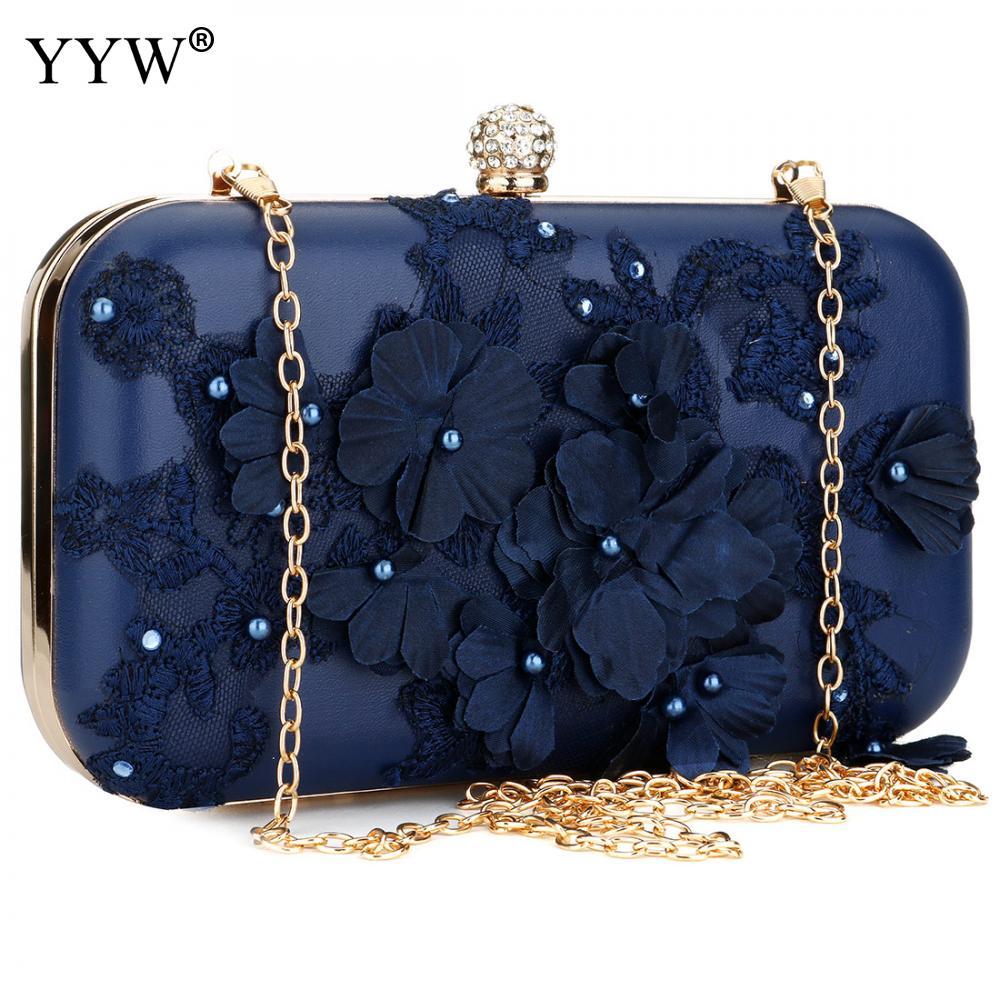 2018 New Women Clutch Bag Flower Ladies Dark Blue Evening Bags Ladies Day Clutches  Purse Female 2807ddec6fc01