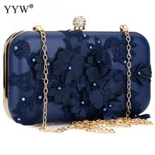 2018 New Women Clutch Bag Flower Ladies Dark Blue Evening Bags Ladies Day Clutches Purse Female Pink Wedding Bag With Rhinestone цена 2017