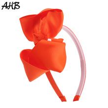 AHB 5 Inch Hair Bows Solid Hairband for Girls Candy Color Bowknot Hoop with Teeth Non-slip Headbands Summer Style Headwear