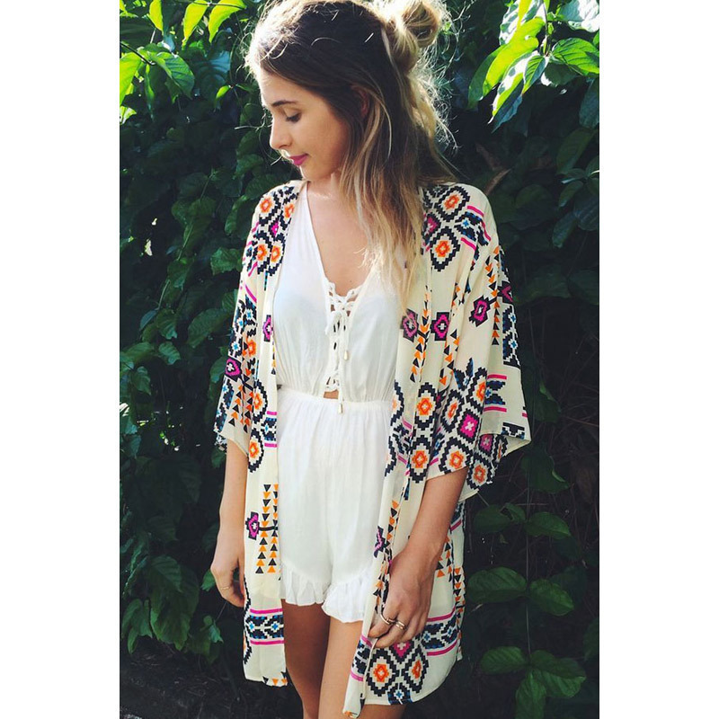 Online Shop 2015 Cardigan Sexy Beach Sarongs Geometric Printed ...