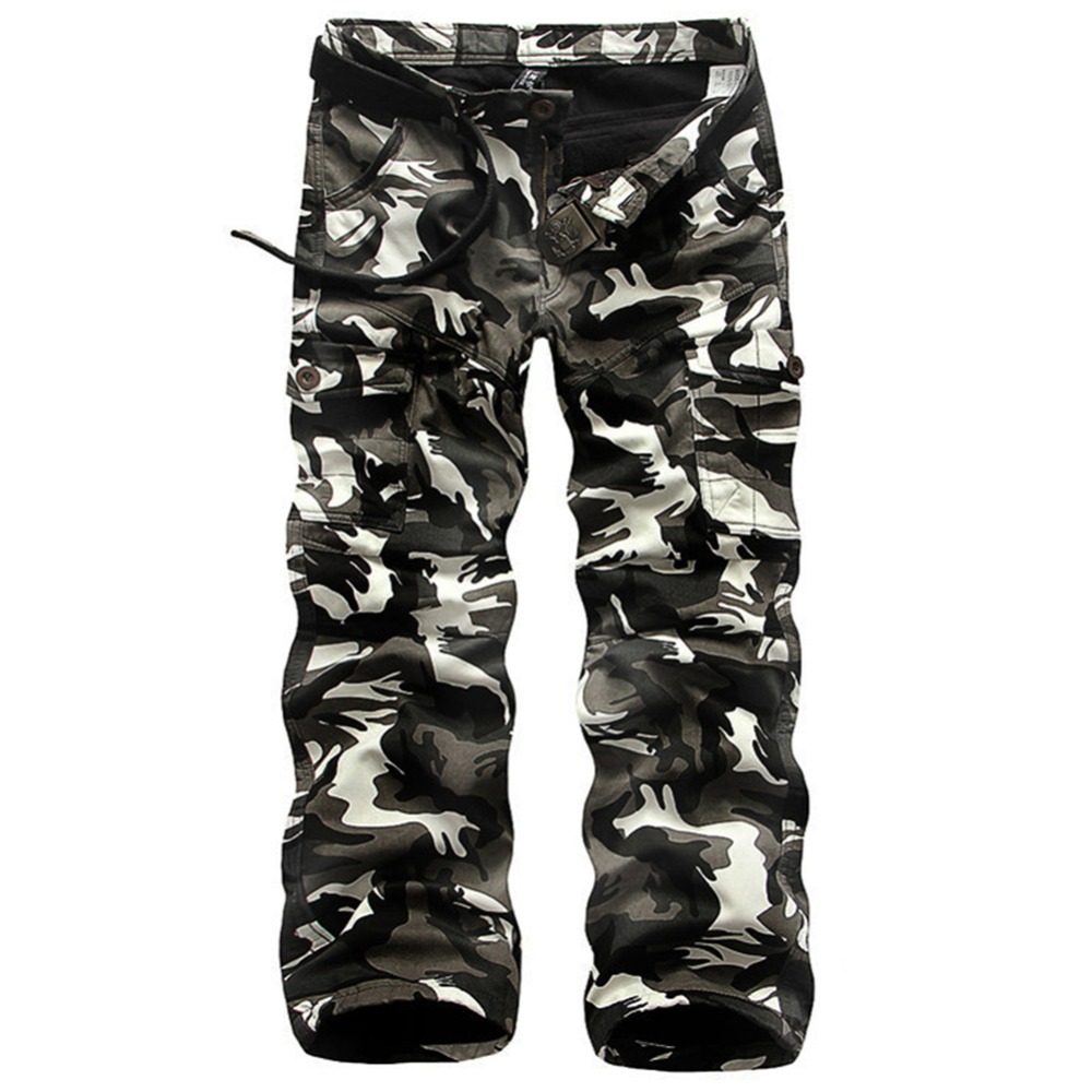 2016 Winter Fleece Men's Cargo Pants Warm Double Layer Military Camouflage Pants Casual Baggy Tactical Trousers