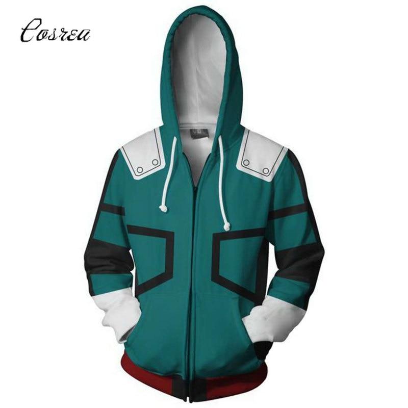 Anime My Hero Academia Hoodie Sweatshirts Cosplay Costume Hoodie College Clothing Long Sleeve Top Women Zip Up Jackets