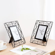6 Inch iron photo frame hollow Picture Frame Display Stand holder Home Decoration Accessories birthday wedding party supplies(China)