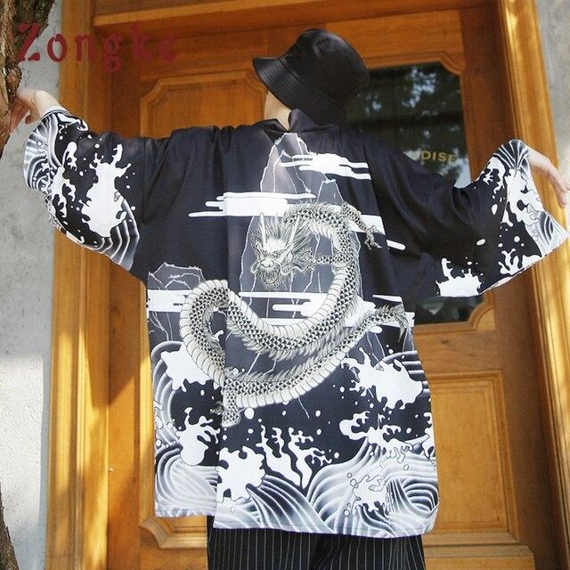 Zongke הדרקון קימונו קימונו ארוך קרדיגן גברים קיץ קרדיגן גברים זכר קימונו יפני מסורתי תפר פתוח 2018