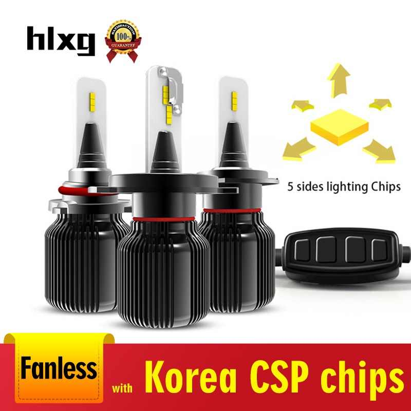 HLXG 2PCS 5 sides Light H7 Led H11 CSP Led Chips Car Headlights Led Light HB4 9006 H4 H8 Led 24V 8000LM 40W HB3 9005 Bulbs 12V