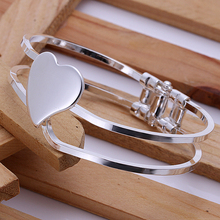 2015 new arrived 925 sterling silver jewelry  from india fashion open sweet heart bangle open cuff bracelet for women wholesale