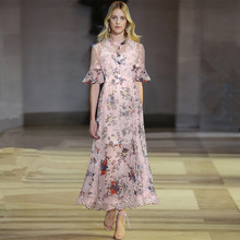 New 2019 summer runways flare sleeve dress Chic beading lace patchwork maxi dress Fashion women party dress A222