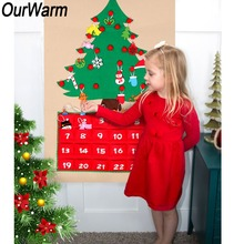 OurWarm DIY Fabric Felt Advent Calendar with Pocket Christmas Tree Calendar Wall Hanging Christmas New Year Product Decoration цена