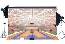 Luxurious Basketball Court Backdrop Stadium Crowd Shabby Wood Floor Interior Gymnasium Photography Background
